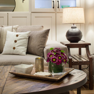 Elegant walk-out medium tone wood floor basement photo in Other with gray walls