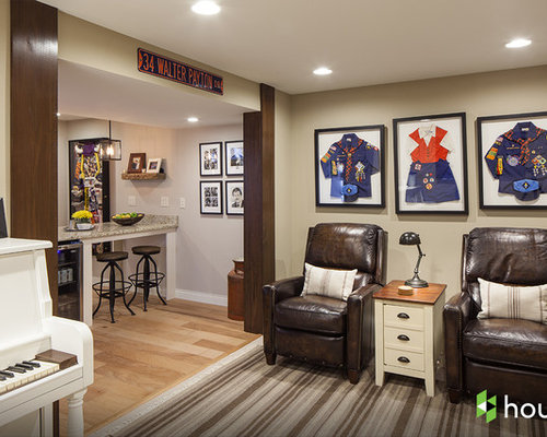 Traditional Multicolored Floor Basement Idea In Other With Beige Walls