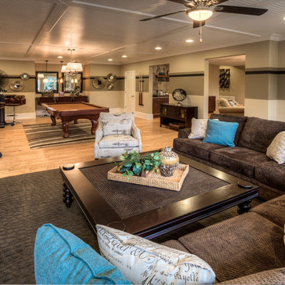 Inspiration for a contemporary walk-out basement remodel in Atlanta with beige walls