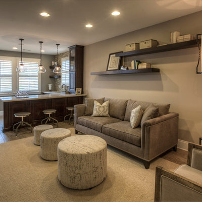 Basement - contemporary look-out basement idea in Atlanta with beige walls