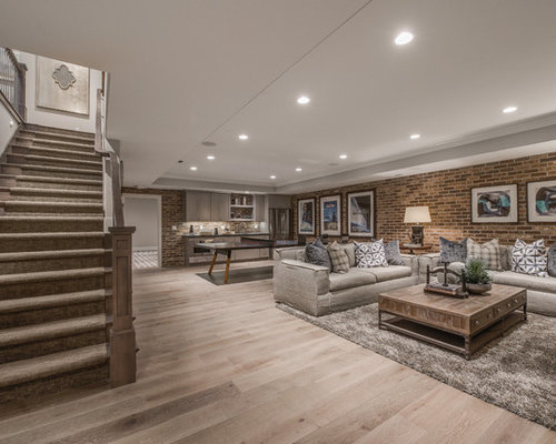 Ordinaire Example Of A Large Classic Light Wood Floor And Brown Floor Basement Design  In Salt Lake