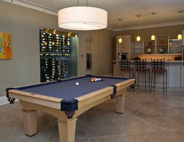Atlanta Residence-Basement Billiards Room with Glass Wine Cellar