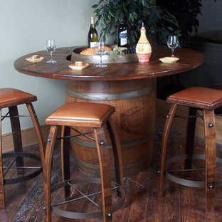 Authentic Unique Full Wine Barrel Large Bistro Guest Table and 5-Stools Package