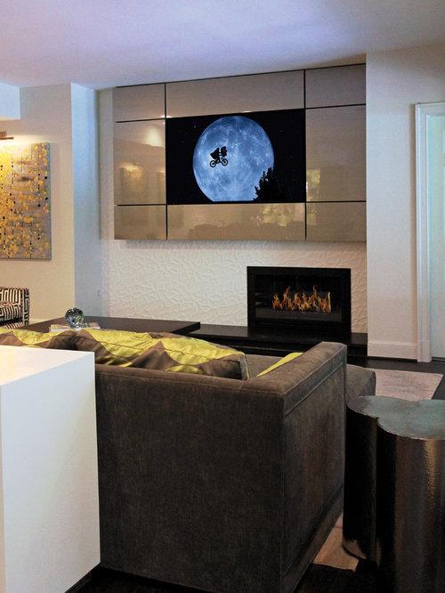 keller mit gefliestem kaminsims und wei en w nden. Black Bedroom Furniture Sets. Home Design Ideas