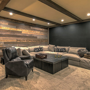 G Example Of A Mountain Style Carpeted And Gray Floor Basement Design With  Brown Walls