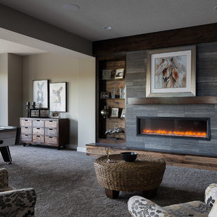 Inspiration for a rustic basement remodel in Kansas City