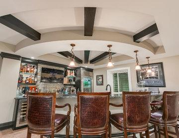 Basement bar ceiling beams