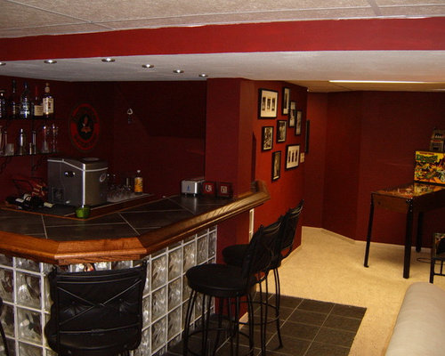 Lighting Basement Washroom Stairs: Basement Design Ideas, Pictures, Remodel & Decor With Red