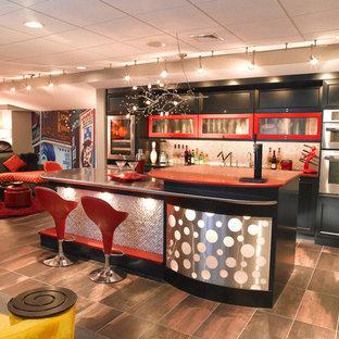 Mid Sized Eclectic Underground Ceramic Floor And Brown Floor Basement Photo  In Philadelphia With Beige
