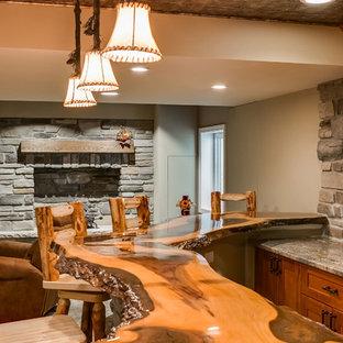 Basement bar wood countertop