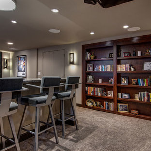 Basement bookcase and home theater