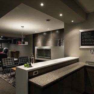 Inspiration pour un sous-sol design enterré avec un mur gris, moquette, une cheminée ribbon et un sol gris.