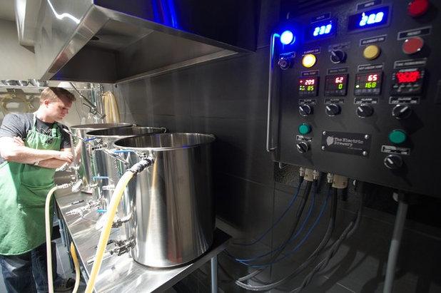 Modern Basement Basement Brewery / Bar / Home Theater