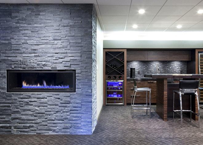 Contemporary Basement by Glenat Duxbury Interior Design