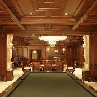 Idée de décoration pour un grand sous-sol tradition enterré avec un mur marron, un sol en carrelage de porcelaine, une cheminée standard, un manteau de cheminée en bois et un sol blanc.