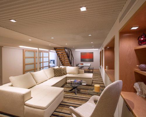 expansive modern pendant light basement design ideas