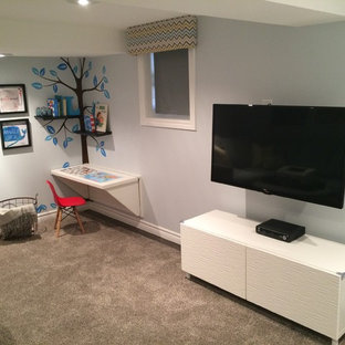 Inspiration for a small contemporary look-out basement remodel in Toronto
