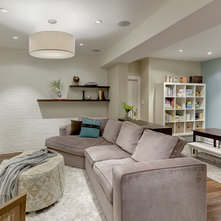Traditional Basement by Leslie Goodwin Photography