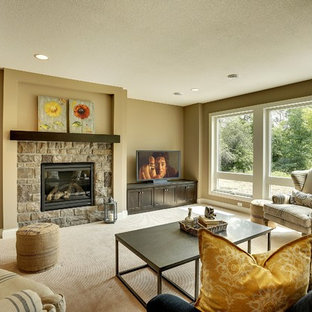 Basement - large transitional walk-out carpeted basement idea in Minneapolis with beige walls, a standard fireplace and a stone fireplace