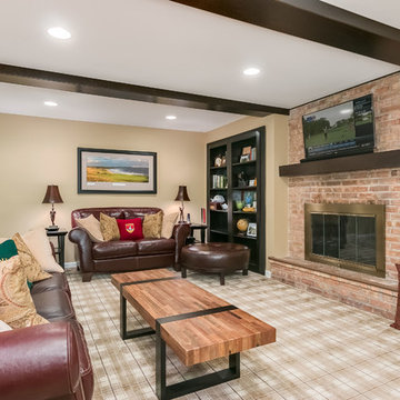 Basement Family Room TV and Fireplace