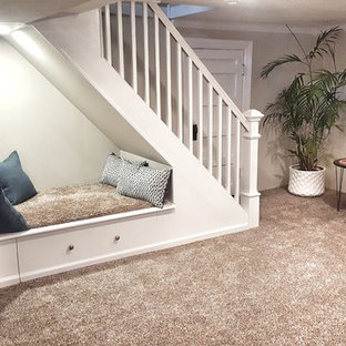 Design ideas for a small traditional walk-out basement in Cincinnati with beige walls, carpet, no fireplace and brown floor.