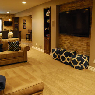 Basement - mid-sized transitional look-out carpeted basement idea in Kansas City with beige walls and no fireplace
