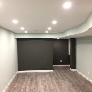 Idée de décoration pour un sous-sol semi-enterré avec sol en stratifié et un sol gris.