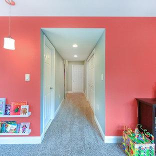 Réalisation d'un petit sous-sol tradition donnant sur l'extérieur avec un mur multicolore et moquette.