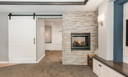 Basement Fireplace & Barn Door