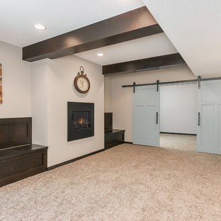 Basement Fireplace and Barn Doors