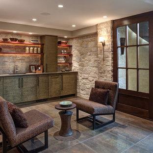 Basement - rustic walk-out ceramic tile basement idea in Chicago