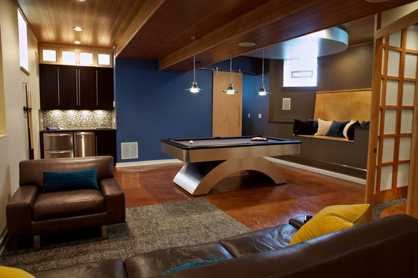 Modern Basement by Gina Bon, Airoom Architects & Builders LLC