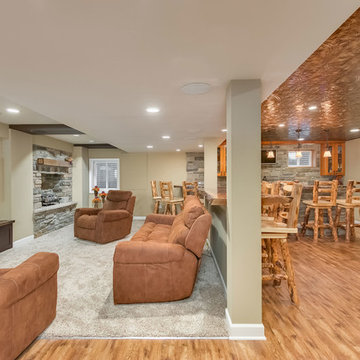 Basement great room with home theater and bar