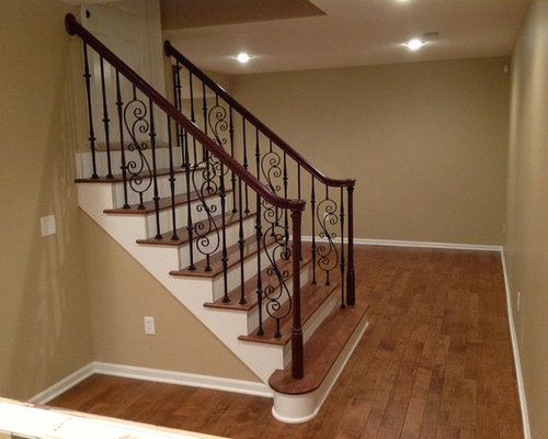 Inspiration For A Mid Sized Timeless Underground Medium Tone Wood Floor And Brown Basement
