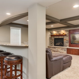 Basement Home Theater and Fireplace