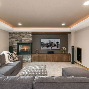 Basement Home Theater & Fireplace