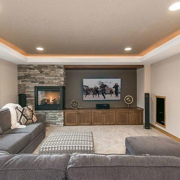 Basement Home Theater & Fireplace