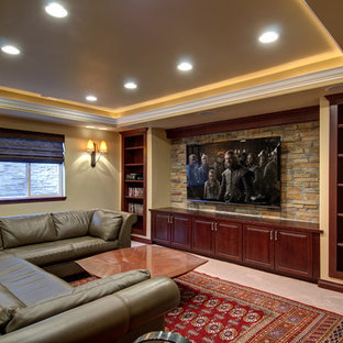 Example of a large classic look-out porcelain tile and beige floor basement design in Denver with beige walls and no fireplace