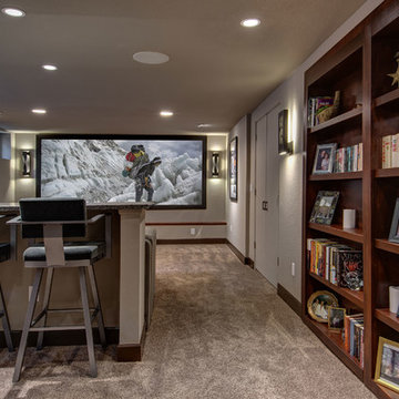 Basement Home Theater with Bookcase