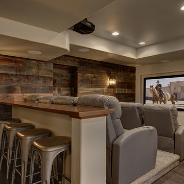 Basement Home Theater with Wood Paneling