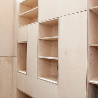 Basement integrated wall shelves