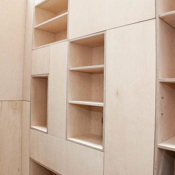 Basement integrated wall shelves