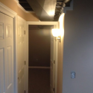 Mid-sized elegant look-out carpeted basement photo in New York with beige walls