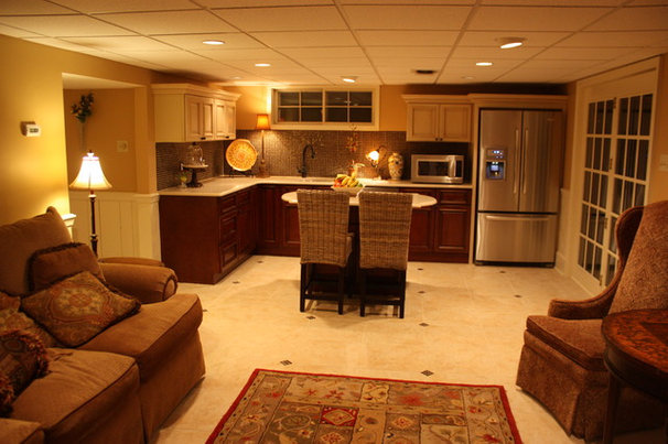 Traditional basement by rta cabinet store Basement in law suite floor plans