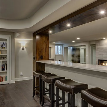 Basement Knee Wall & Fireplace with Bookcase