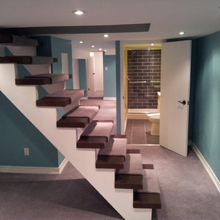 Small trendy look-out carpeted basement photo in Toronto with blue walls and no fireplace