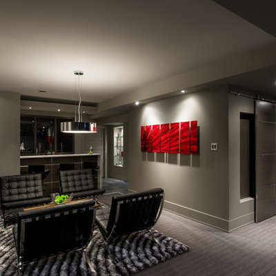 Example of a trendy underground carpeted and gray floor basement design in Ottawa with gray walls and a metal fireplace