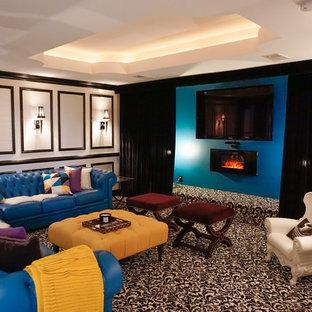 Exemple d'un sous-sol moderne de taille moyenne avec un mur blanc, moquette, cheminée suspendue, un manteau de cheminée en plâtre et un sol multicolore.