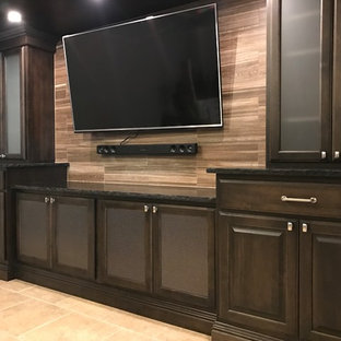 Basement Media Center and Linear Fireplace