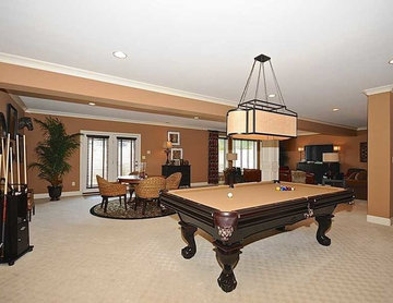 Basement Pool Table of European Brick and Stone Home
